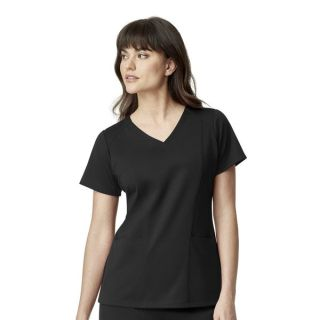 Womens Ponte Knit V-Neck Top-WonderWink