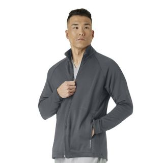 4 Pocket Men's Fleece Full Zip Jacket-WonderWink