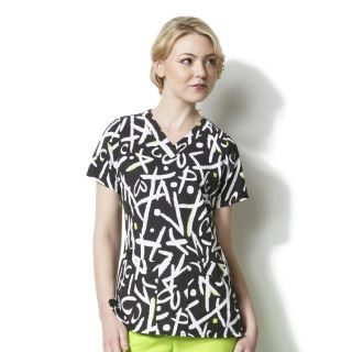 Contoured V-Neck Print Top-WonderWink