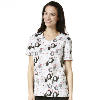 Z12202 Printed V-Neck Top