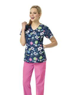 Womens V-Neck Printed Scrub Shirt-Zoe+Chloe