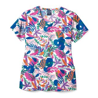 V-Neck Poly Print Top-