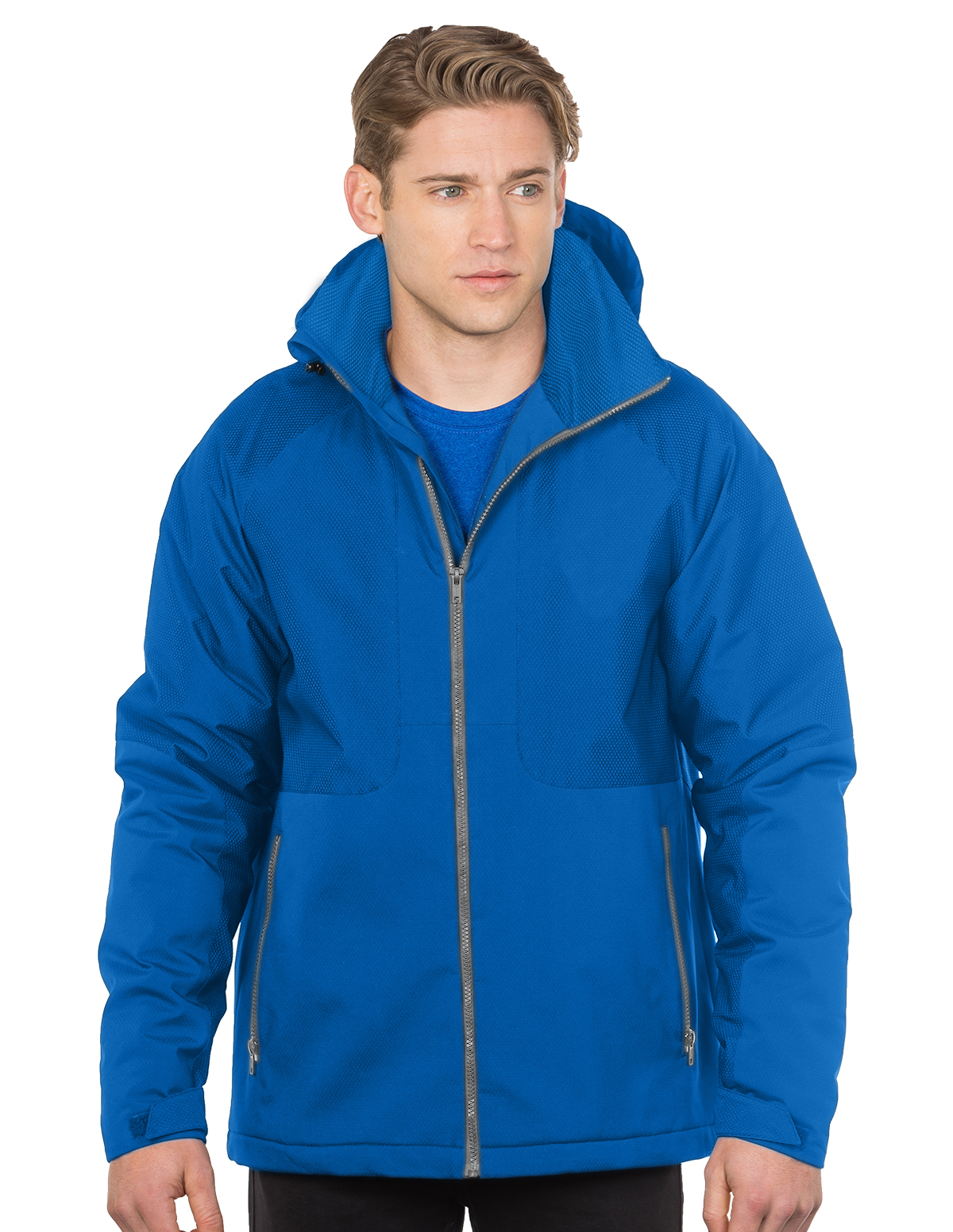 Bellwood-Mens Hooded Honeycomb Poly/Fleece Jacket-Tri-Mountain