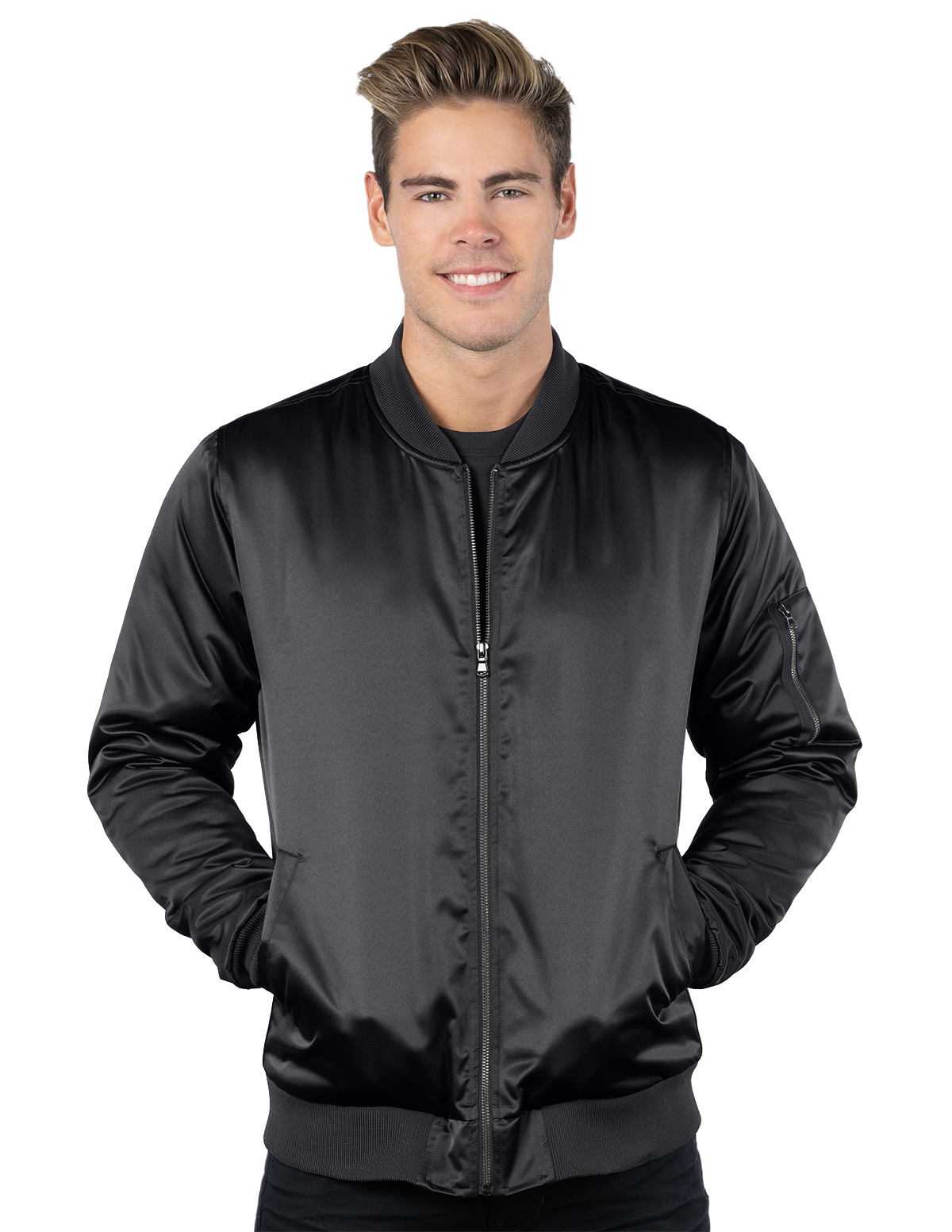 Aviator-Mens Matte Satin Bomber Jacket-Tri-Mountain