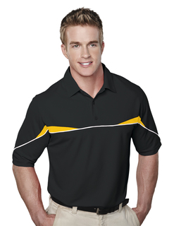 Marauder-Mens Ss Knit Polo Shirt, w/ Self Collar, Piping And Contrast Inserts