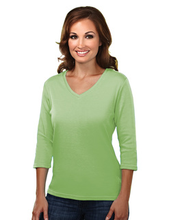 Mystique-Womens Cotton Interlock 3/4 Sleeve V-Neck Knit-