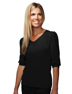 Torrance-Womens Cotton/Poly 60/40 V Neck Knit Shirt, w/ Gathering (@) Yoke/Cuff/Shoulder