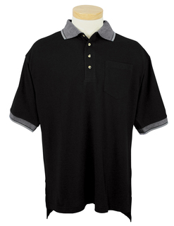 Mercury-Mens Cotton Pique Pocketed Golf Shirt With Jacquard Trim-