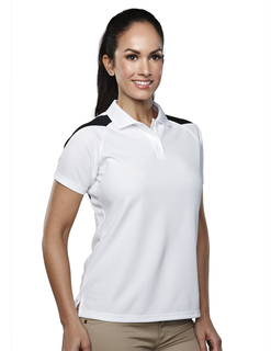 Lady Avenger-Womens 100% Polyester Knit Polo Shirt, Raglan Sleeve w/ Shoulder Contrast-TM Performance