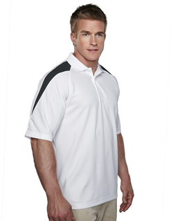 Avenger-Mens 100% Polyester Knit Polo Shirt44 Raglan Sleeve w/ Shoulder Contrast-