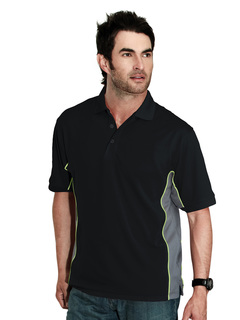 Gt-2-Mens 100% Polyester Tmr Knit Polo Shirt, w/ Rib Collar