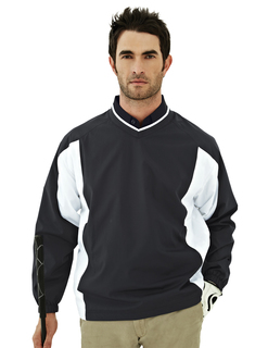 Warrior-Mens 100% Polyester Micro V Neck Long Sleeve Wind Shirt-Tri-Mountain