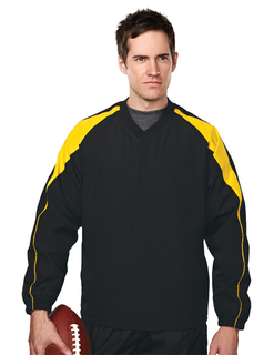 Hiro-Mens 100% Polyester V-Neck Long Sleeve Wind Shirt With Water Resistent