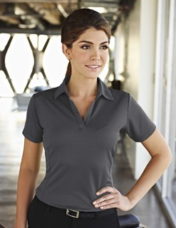 Saratoga-Womens 100% Polyester Knit Polo Shirt, w/ Grid Pattern And Princess Seam