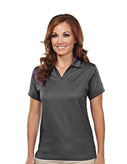Aura-Womens Poly Ultracool Basket Knit Johnny Collar Golf Shirt