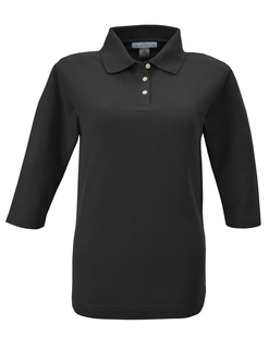Aurora-Womens 60/40 Pique 3/4 Sleeve Golf Shirt