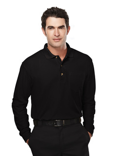 Spartan-Mens 60/40 Pique Long Sleeve Pocketed Golf Shirt-
