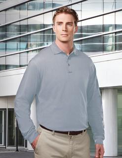 Vanguard-Mens Cotton/Poly 60/40 Knit Ls Polo Shirt, w/ Mic Loops & Pen Pocket-Tri-Mountain