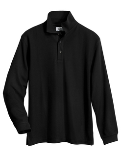 Enterprise-Mens 60/40 Long Sleeve Easy Care Knit Shirt With Snap Closure Ideal Cook Shirt-