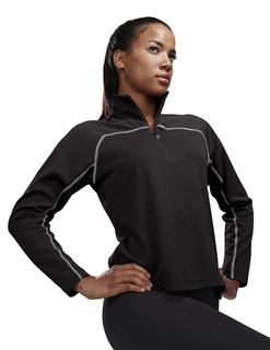 Rhythm-Womens 100% Polyester Jaquard Uc 1/4 Zip Ls Knit Pullover Shirt-TM Performance