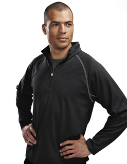 Reflex-Mens 100% Polyester Jaquard Uc 1/4 Zip Ls Knit Pullover Shirt-TM Performance