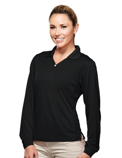 Eclipse-Womens Poly Ultracool Pique Y-Neck Long Sleeve Golf Shirt-
