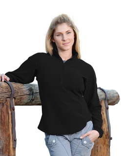 Realm-Womens 100% Polyester Anti-Pilling Dobby Fleece 1/2 Zip Ls Knit Shirt