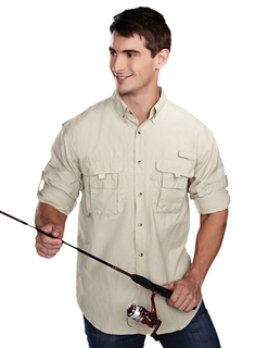 Marlin-Men Nylon Long Sleeve Shirt With Upf Protection And Ventilated Back-TM Performance