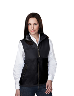 Cienna-Womens Panda Fleece Vest With Nylon Paneling