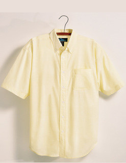Retro-Mens 60/40 Stain Resistant Short Sleeve Oxford Shirt-Tri-Mountain