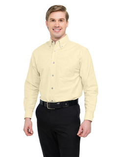 Techno-Mens 60/40 Stain Resistant Long Sleeve Oxford Shirt-Tri-Mountain
