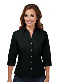 Affinity-Womens 60/40 Stain Resistant Open Neck 3/4 Sleeve Shirt-Tri-Mountain