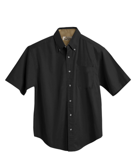 Valor-Mens Cotton Short Sleeve Peached Twill Shirt-Tri-Mountain