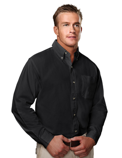 Regency-Mens Cotton Long Sleeve Peached Twill Shirt-Tri-Mountain