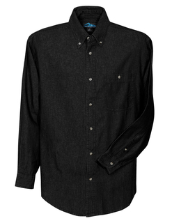 Pioneer-Mens Denim Long Sleeve Shirt-Tri-Mountain
