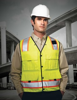 Level-Mens 100% Polyester Water Resistant Heavy Twill Safety Vest