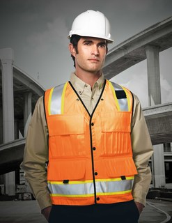 Level-Mens 100% Polyester Water Resistant Heavy Twill Safety Vest-