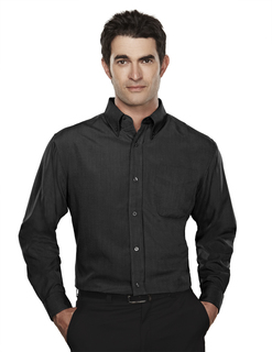 Convention-Mens Rayon/Poly Long Sleeve Shirt With Mini-Houndstooth Pattern