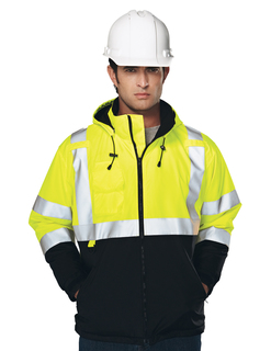Beacon-Mens 100% Polyester Water-Resistant Fleece-Lined Safety Jacket-