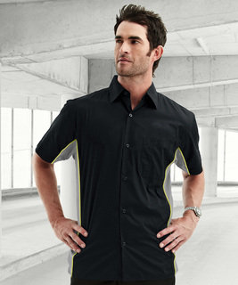 Gt-3-Mens Cotton/Poly 60/40 Tmr Ss Woven Shirt, w/ Knitted Side Panel-