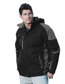Avalanche-Mens 100% Nylon Water Resistant Full Lined Quilted w/ Removable Hood Woven Jacket-Tri-Mountain