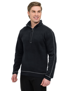 Cambridge-Mens 60% Cotton/40% Polyester 1/4 Zip Pullover With On Seam Pockets, Rib Cuff & Bottom