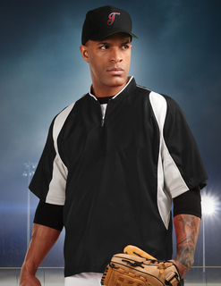 D.H.-Mens 100% Polyester S/S 1/4 Zip Baseball Warmup Shirt