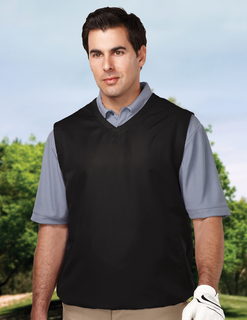 Legend-Mens 100% Polyester Micro w/R V-Neck Vest With 2 Zip Slash Pockets & Elastic Bottom