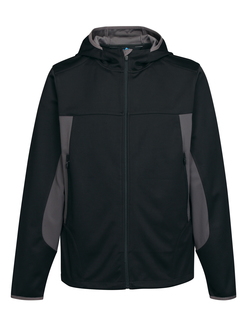 Belford-Mens 100% Polyester Hoody Jacket With Contrast Side Panel And Zipper Pocket