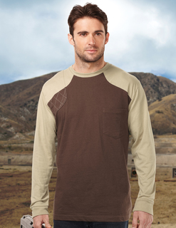 Woodruff Long Sleeve-Mens Ls Shooter Tee w/Contrast Quilted Patch