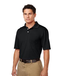 Vigor Pocket-Mens 100% Polyester S/S Pique Polo-TM Performance