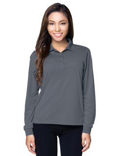 Lady Vital Long Sleeve-5 Oz 100% Polyester Mini-Pique Long Sleeve Polo Featuring Moisture-Wicking-