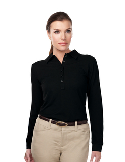Stamina Long Sleeve-Womens 100% Polyester Knit Long Sleeve Golf Shirt-