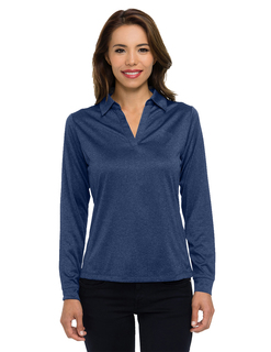 Gala Long Sleeve-Womens 5 Oz 100% Polyester Heather Jersey Long Sleeve Polo Featuring Ultracool™ Moisture-Wicking-